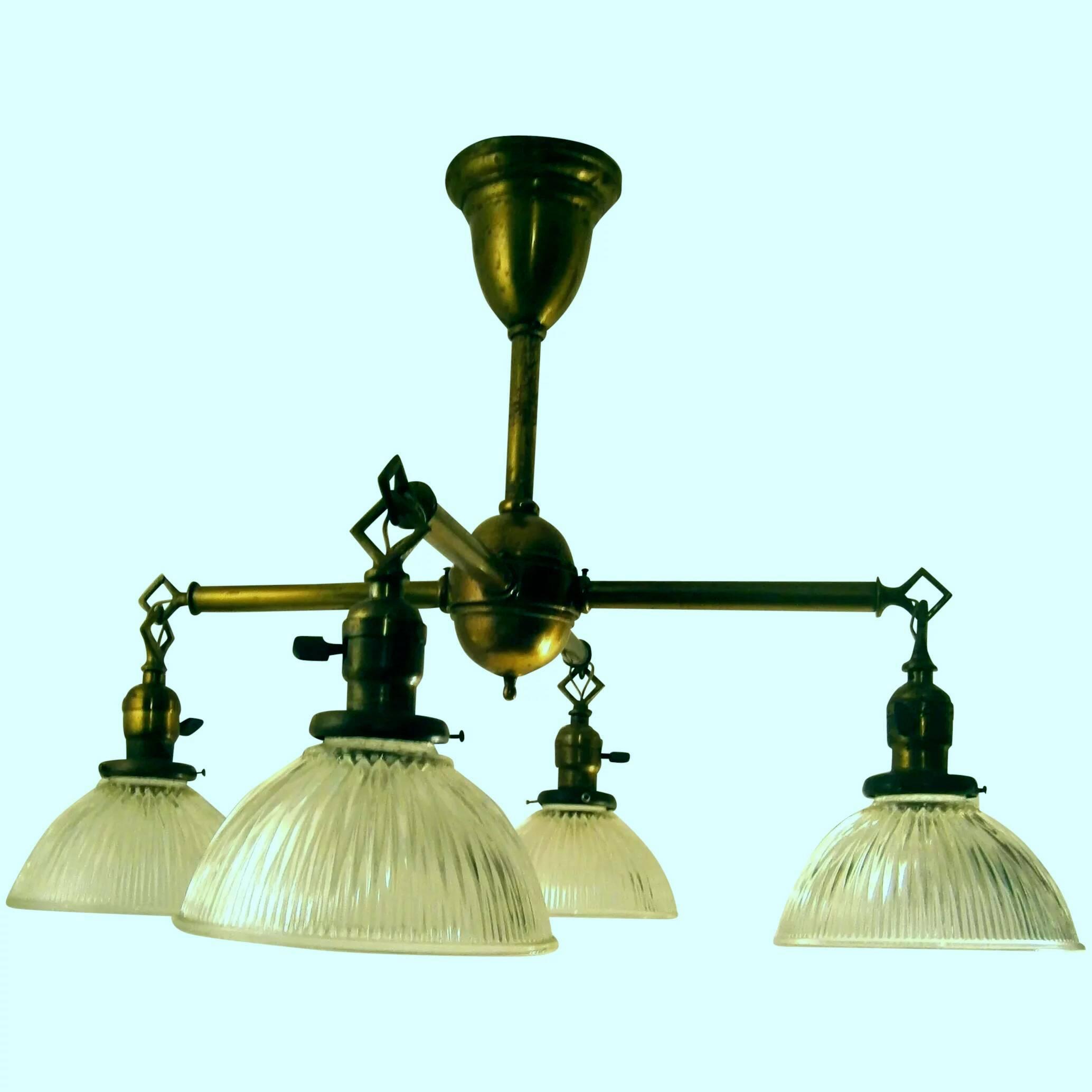 Antique 4 Light Arts Crafts Mission Style Brass Chandelier Lofty Lighting